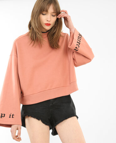 Sweat manches pagode rose