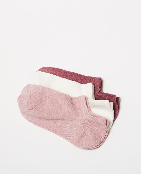 Set met 3 paar lage sokken granaatrood