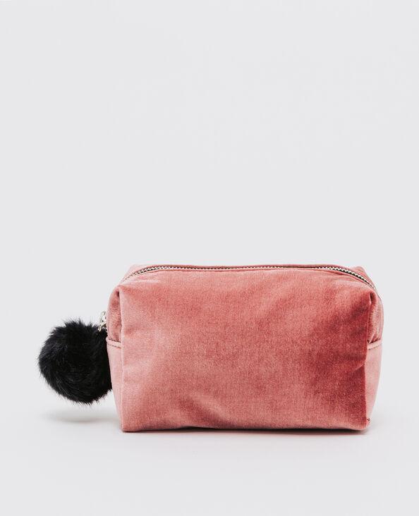 Trousse per il trucco a pompon rosa