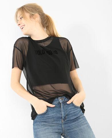 T-shirt reticella 2 in 1 nero