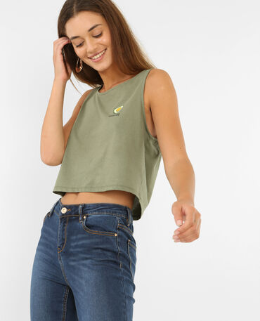 Cropped top imprimé kaki