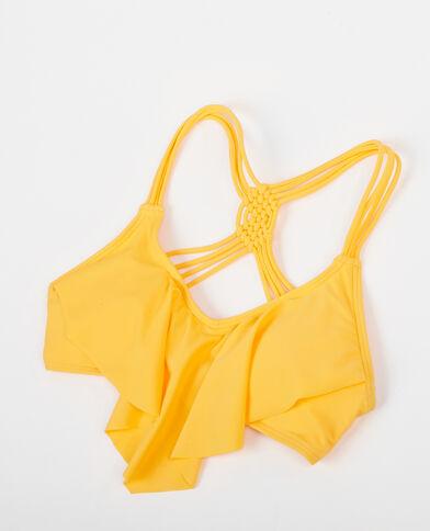 Bikinioberteil mit Rüschen Gelb