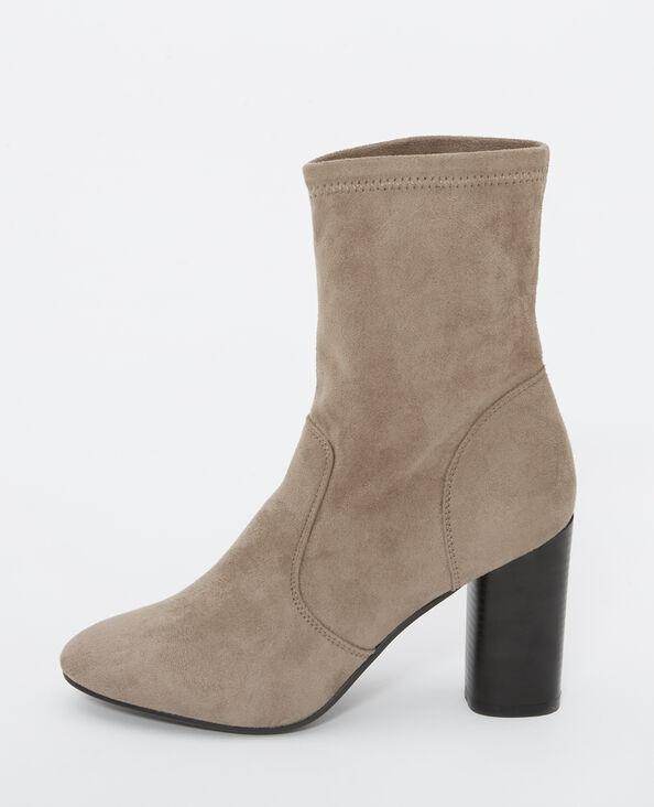 Boots in Wildleder-Optik Kastanienbraun