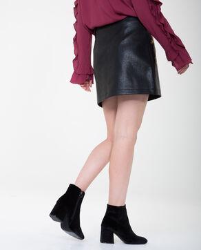 Mini jupe en simili cuir brodée noir