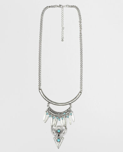 Collar largo con perlas gris brillante