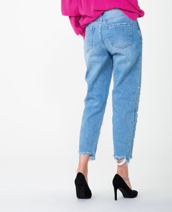 Mom-Jeans mit Perlen Denimblau