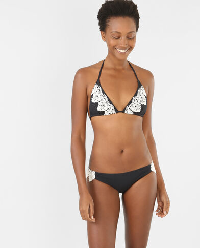 Besticktes Bikinioberteil in Triangel-Form Schwarz