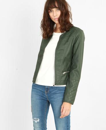 Jacke aus Kunstleder Grün