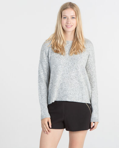 Pull boutonnage dos gris