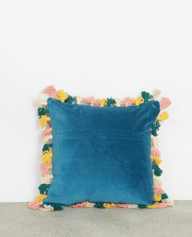 Federa per cuscino con pompon. blu
