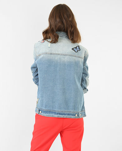 Veste denim à patchs bleu