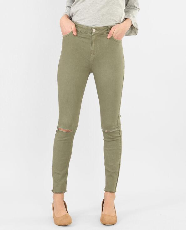 Skinny-Jeans Raw-Cut Grün