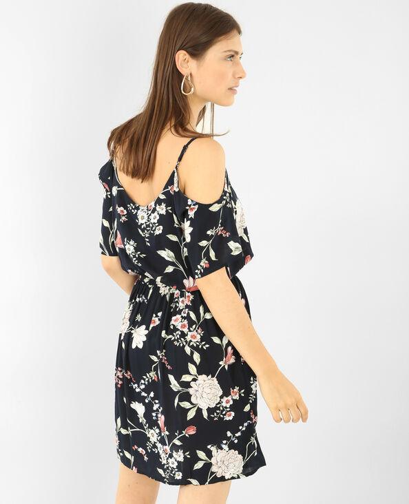 Schön fallendes Kleid mit Peekaboo-Ärmeln Schwarz