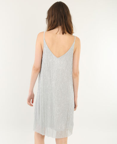 Vestido vaporoso lúrex gris