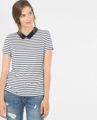 T-shirt col chemise bleu marine