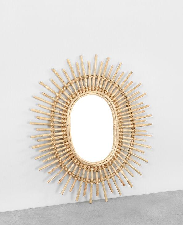 Espejo sol de ratán beige grisáceo