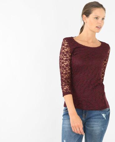 Spitzen-T-Shirt Granatrot