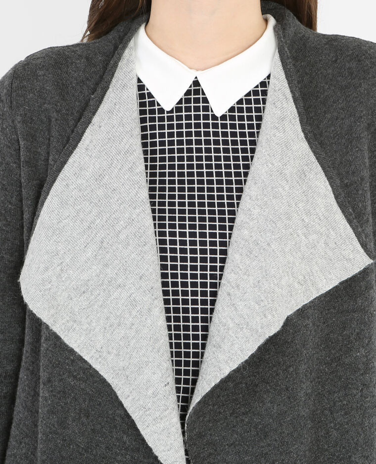 Strickjacke mit Zipfeln Grau
