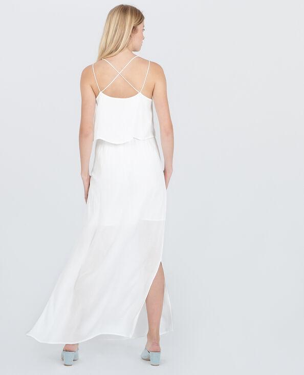 Vestido largo espalda cruzada marfil