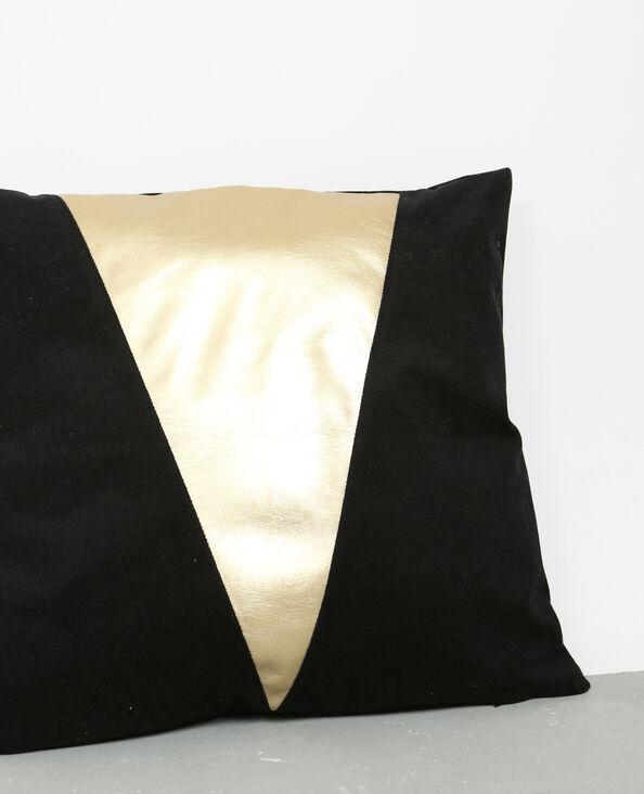 Tweekleurige kussenhoes zwart