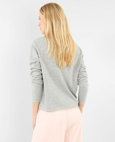 Pullover mit Choker-Kragen Grau meliert