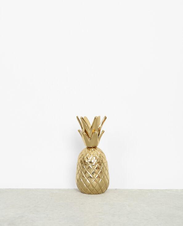 Petite boîte ananas métal doré doré