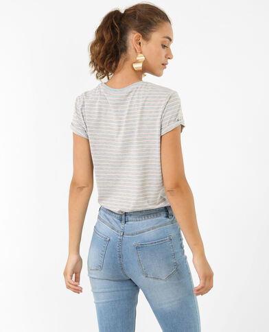 T-shirt met strepen gemêleerd grijs