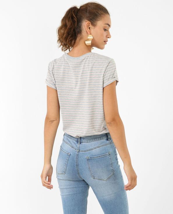 Gestreiftes T-Shirt Grau