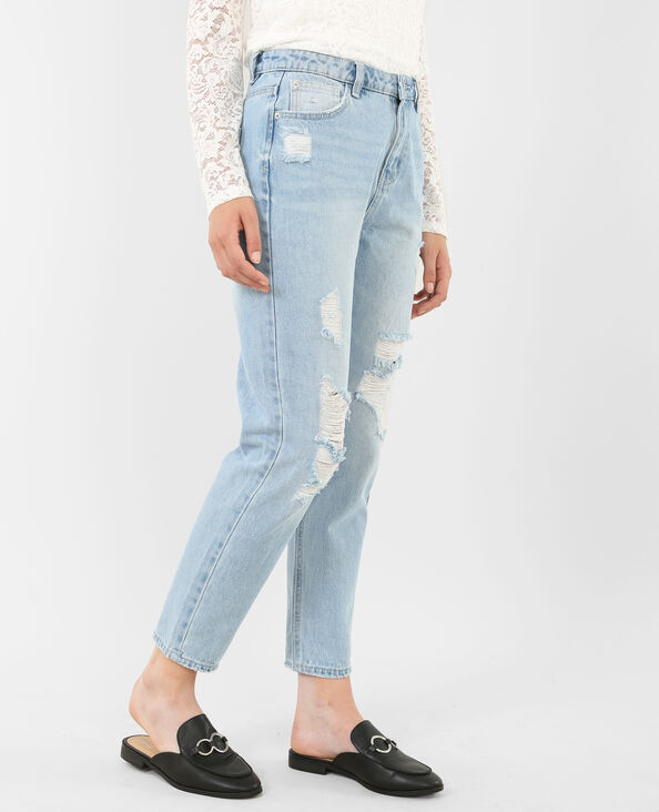 Destroyed Mom-Jeans Blau