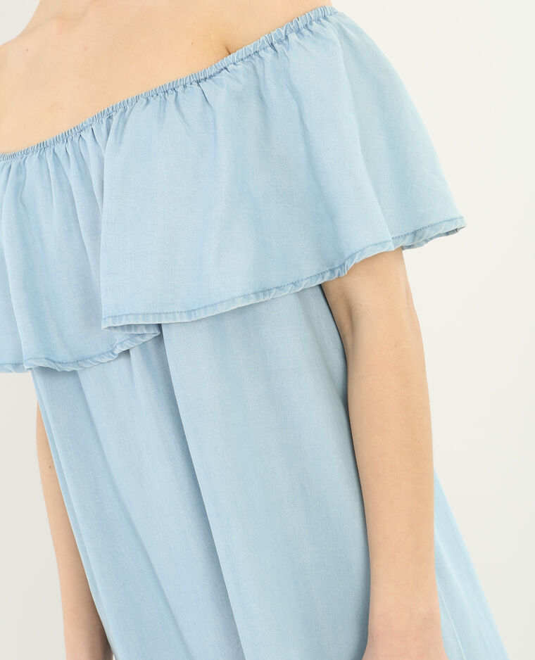 Bardot-Rüschenkleid Hellblau