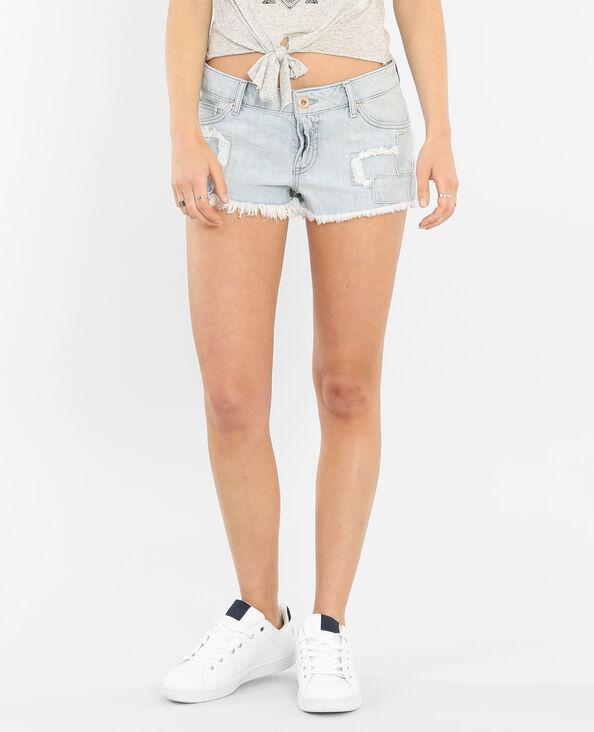 Mini-Shorts mit Patches Hellblau