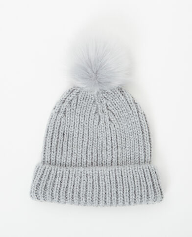 Mütze mit Pompon Anthrazitgrau