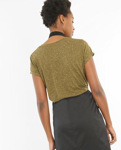 T-shirt femme moucheté kaki