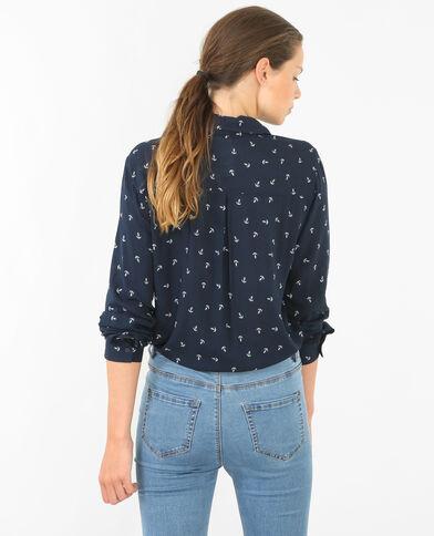Camicia stampata blu marino