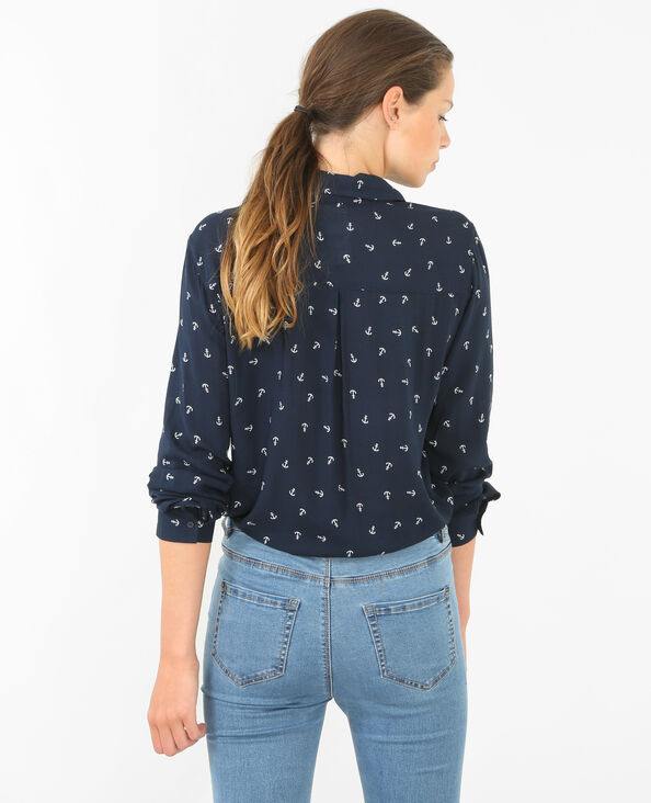 Bedruckte Bluse Marineblau
