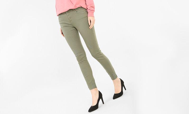 Pantalón skinny destroy verde