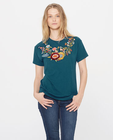 T-shirt brodé bleu canard