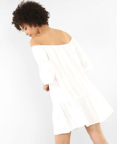 Peplum-Kleid Altweiß