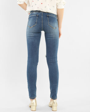 Destroyed-Skinny-Hose mit Push-up-Effekt Denimblau
