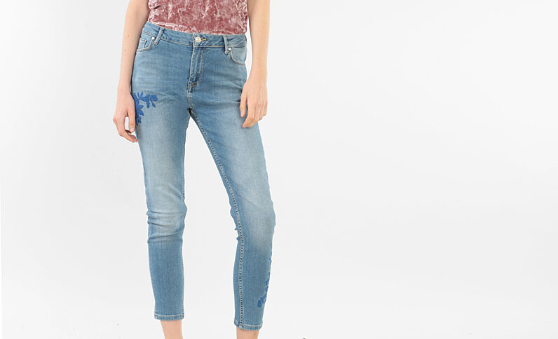 Jeans skinny ricamati blu