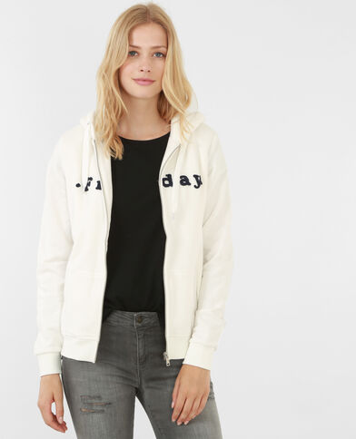 Besticktes Sweatshirt mit Reißverschluss Altweiß