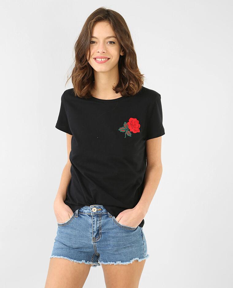 t shirt broderie rose noir 50 403530899h43 pimkie. Black Bedroom Furniture Sets. Home Design Ideas