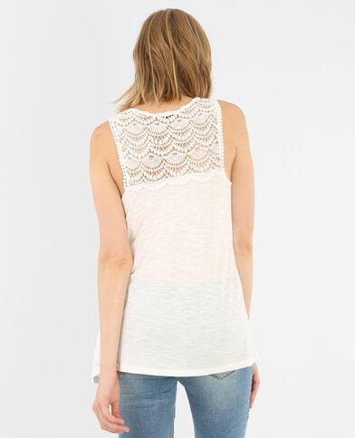Camiseta de tirantes con encaje marfil