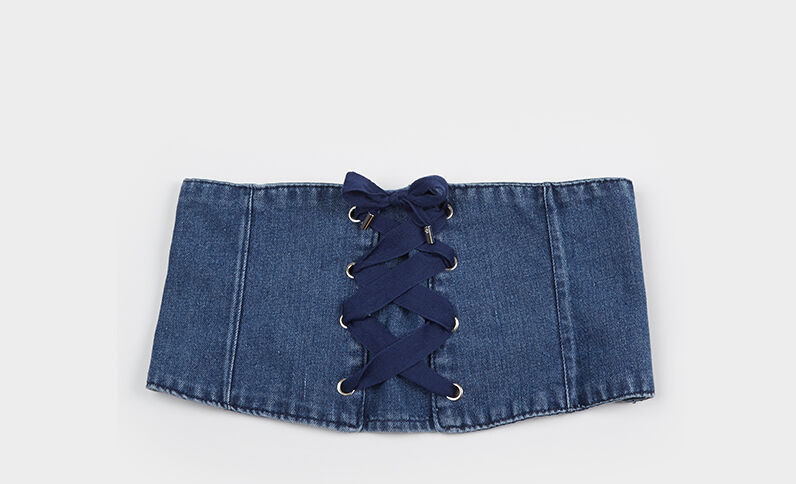 Ceinture corset en jean bleu