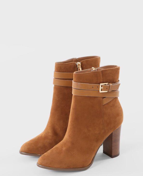 boots talon carré marron marron