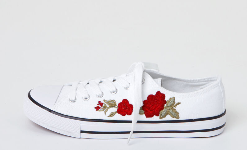 Scarpe da ginnastica in tela ricamate blanc