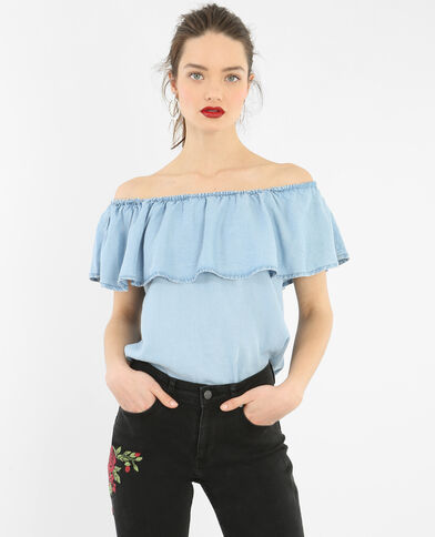 Blusa volante escote bardot azul