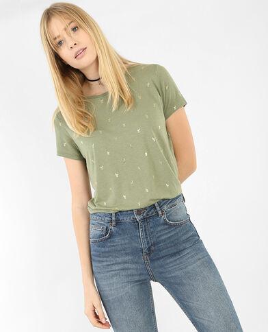 T-Shirt mit Kaktus-Motiv Grün