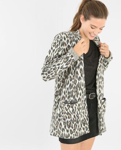 Gilet lungo leopardo écru