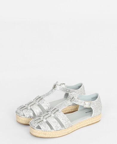 Alpargatas glitter gris brillante